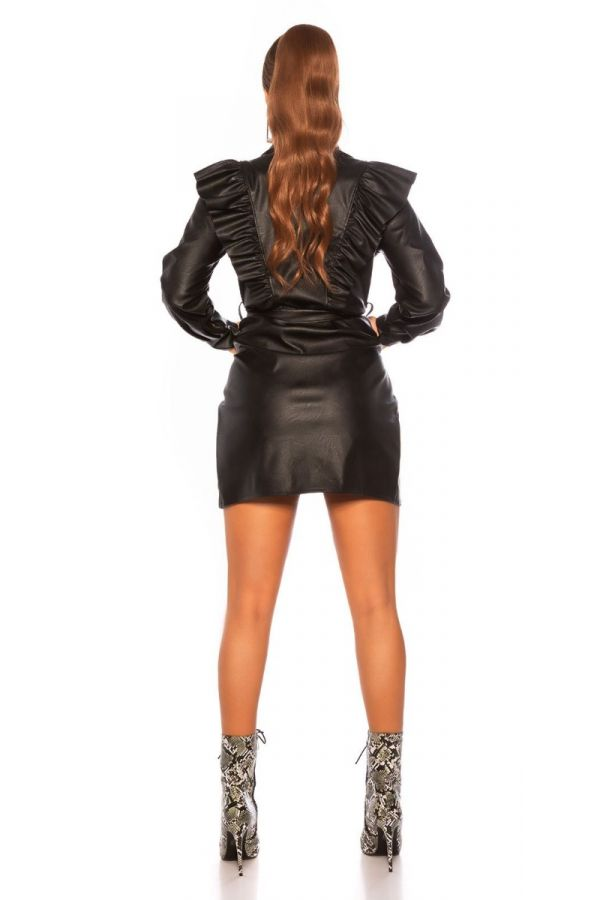 DRESS RUFLLLES COLLAR LEATHERETTE BLACK ISDK90647