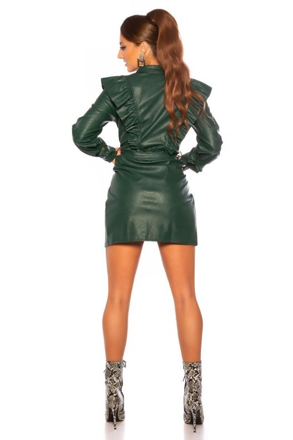 DRESS RUFLLLES COLLAR LEATHERETTE GREEN ISDK90647