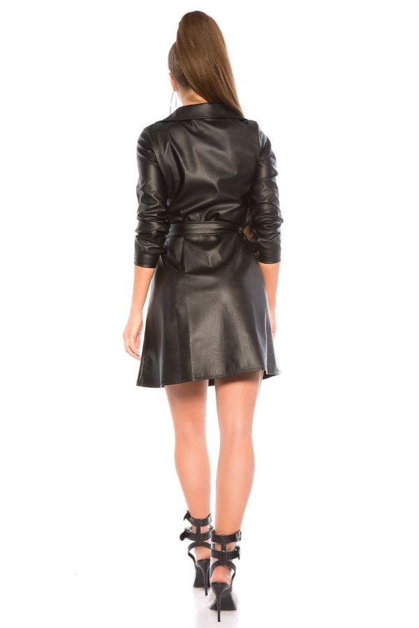 φόρεμα δερματίνη μακριά μανίκια ζώνη μαύρο.