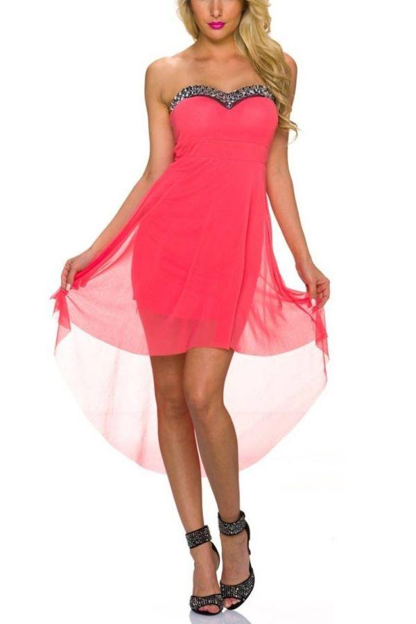 Φόρεμα Εντυπωσιακό Στράπλες Πέτρες Κοραλί QQ1923281