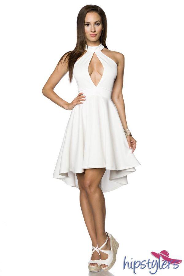 φόρεμα αμάνικο ασύμμετρο ντεκολτέ διαφάνεια άσπρο.
