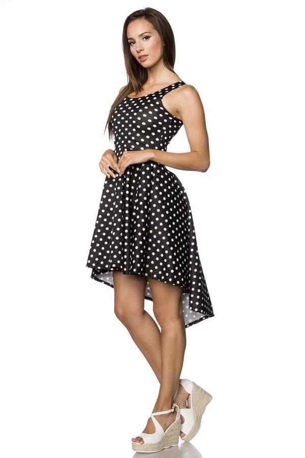 φόρεμα αμάνικο ασύμμετρο λαιμόκοψη μαύρο άσπρο.