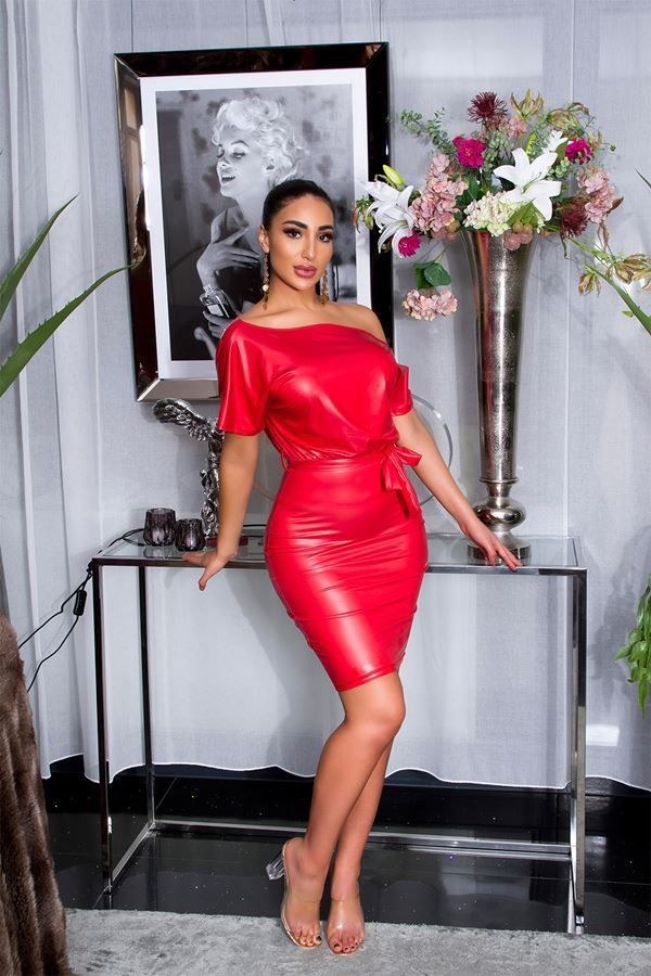 dress sexy leatherette red.