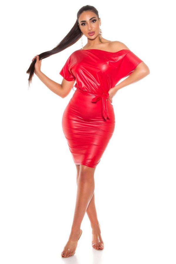 DRESS SEXY LEATHERETTE RED ISDK204201