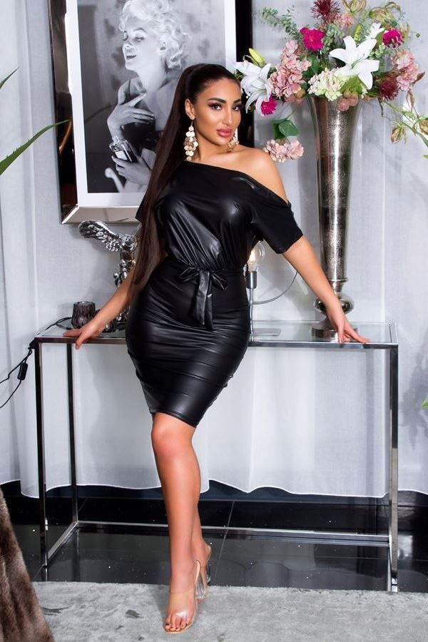 dress sexy leatherette black.