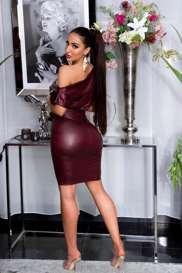 DRESS SEXY LEATHERETTE BORDEAUX ISDK204201