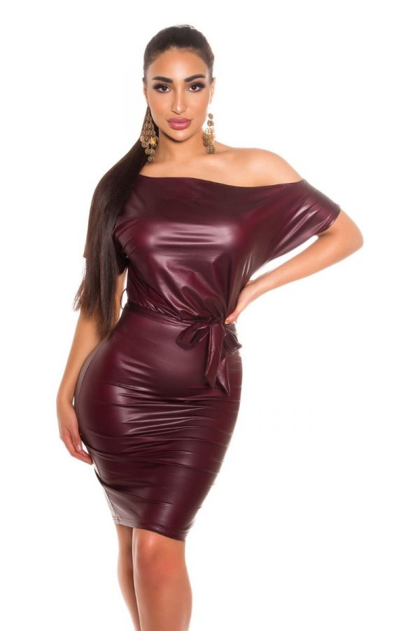 dress sexy leatherette bordeaux.