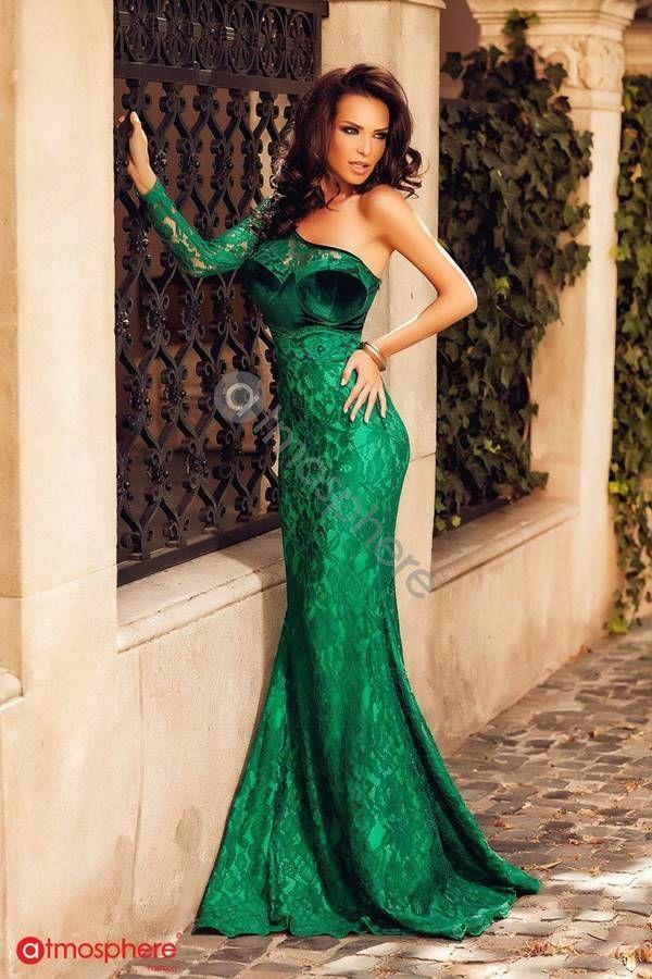 Φόρεμα Επίσημο Μακρύ Ασύμμετρο Δαντέλα Πράσινο GTON409I1