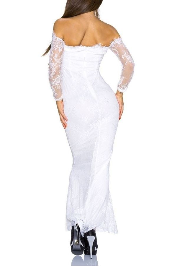 DRESS LONG FORMAL LACE WHITE Q2022270