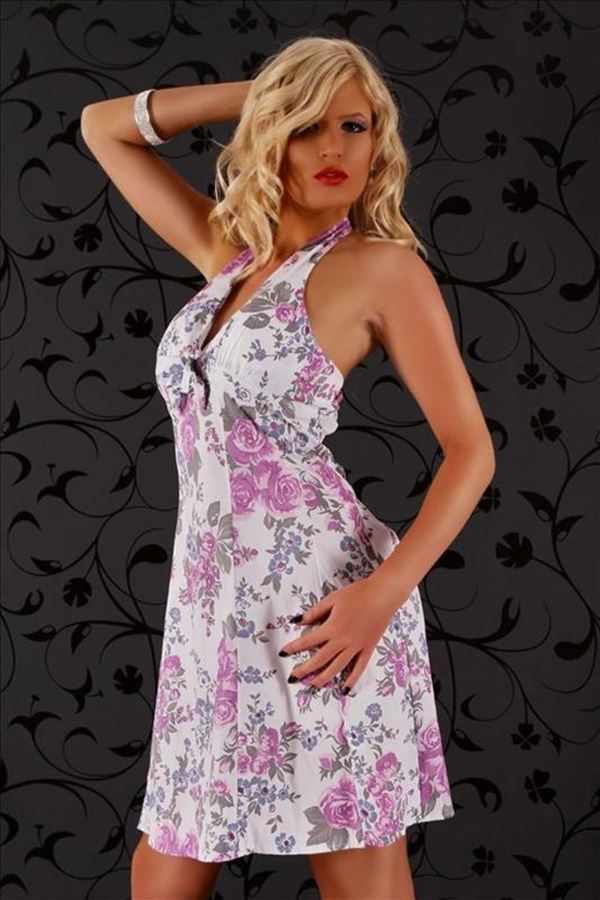 άσπρο φόρεμα με φούξια και γκρι φλοράλ μοτίβο