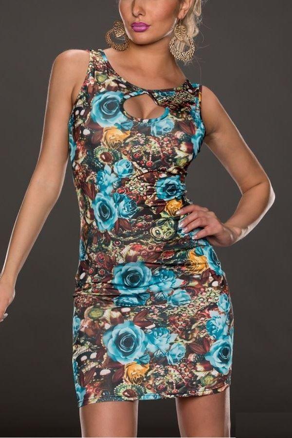 dress floral multicolor blue.