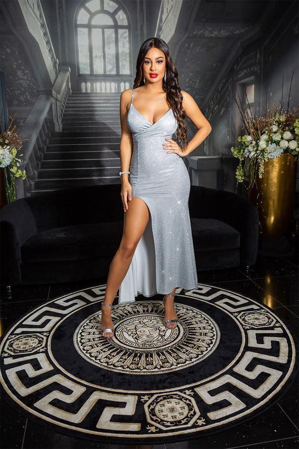 φόρεμα σέξι βραδινό γυαλιστερό ασημί.