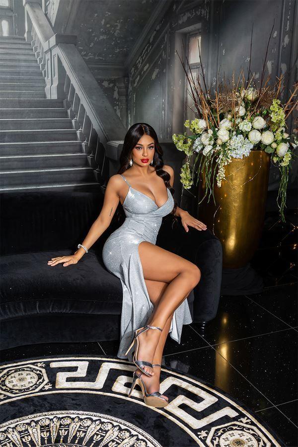 dress sexy evening shiny sliver.