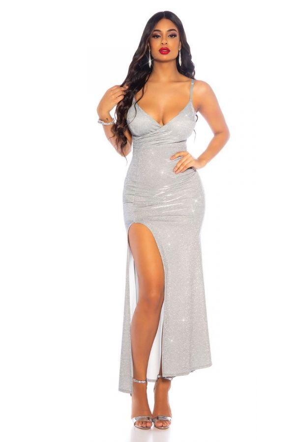 DRESS SEXY EVENING SHINY SILVER ISDK601145