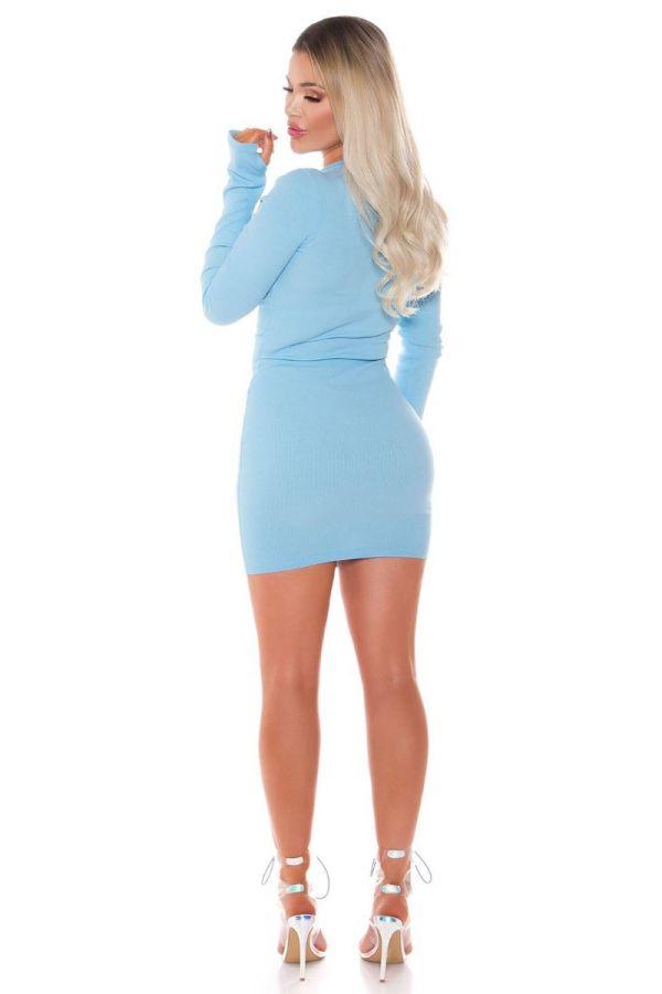 dress bodycon zipper blue.