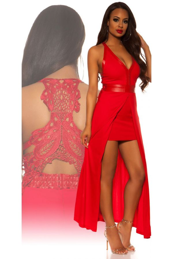 DRESS FORMAL SHORT FRONT LONG BACK LACE RED ISDD93605