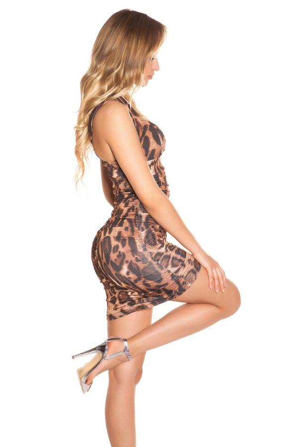φόρεμα κοκτέιλ λουριά λεοπαρ.