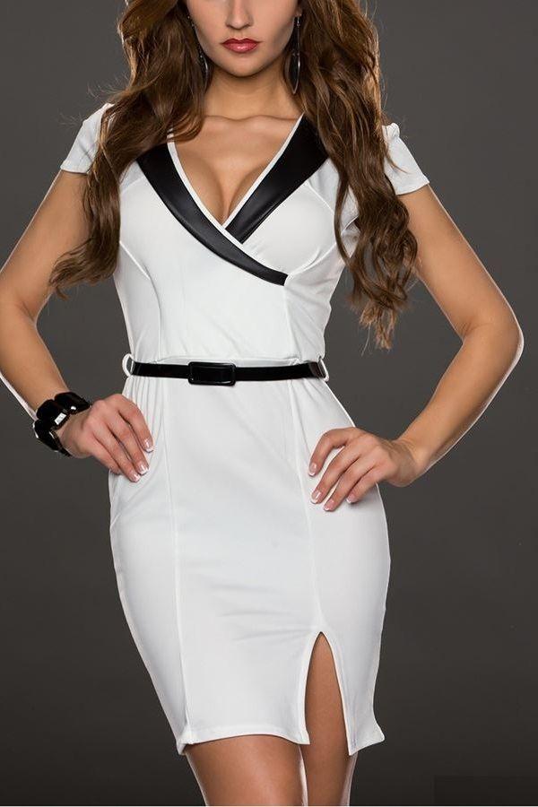 COCKTAIL DRESS WHITE BLACK Q2018250