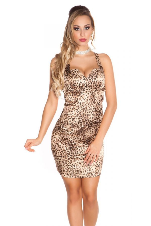 dress cocktail sexy decollete satin leopard.