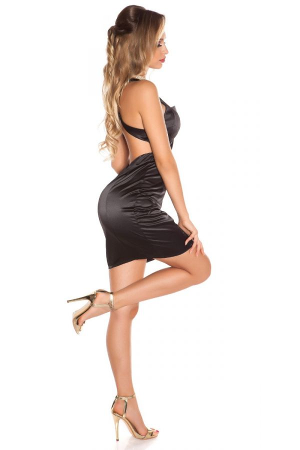 DRESS COCKTAIL SEXY DECOLLETE SATIN BLACK ISDS055658