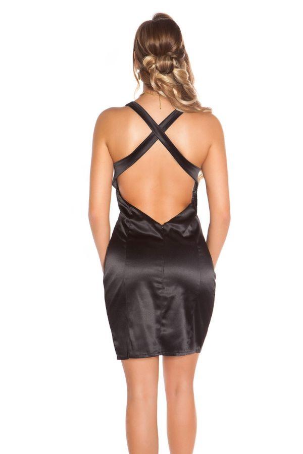 φόρεμα κοκτέιλ σέξι ντεκολτέ σατέν μαύρο.