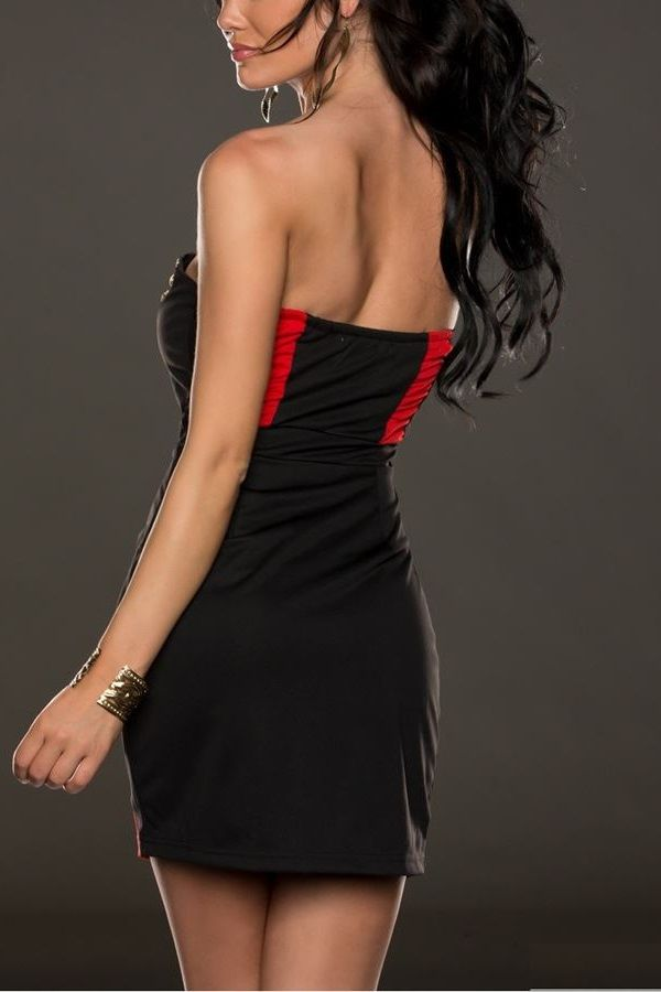 DRESS COCKTAIL STRAPLESS BLACK RED Q2018489