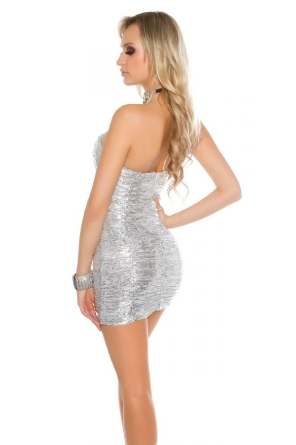 DRESS CLUB STRAPLESS SEQUINS SILVER ISDL3990