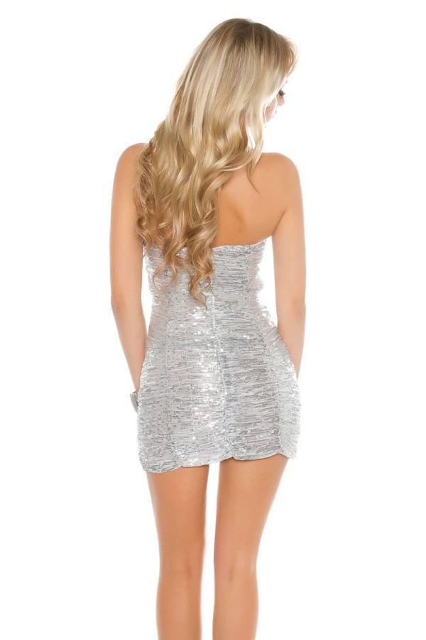 φόρεμα club στράπλες παγιέτες ασημί.