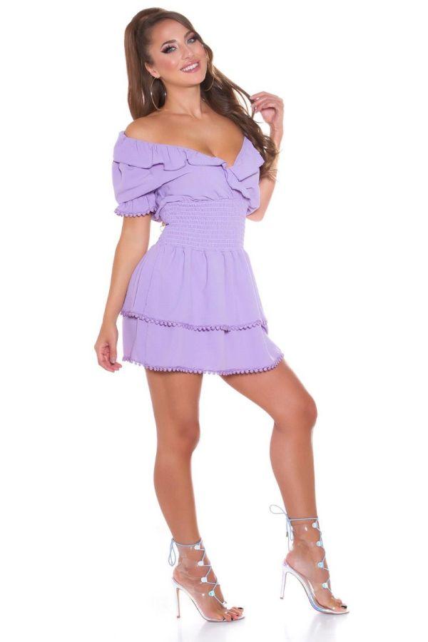 φόρεμα κοντό έξω ώμοι λιλά.