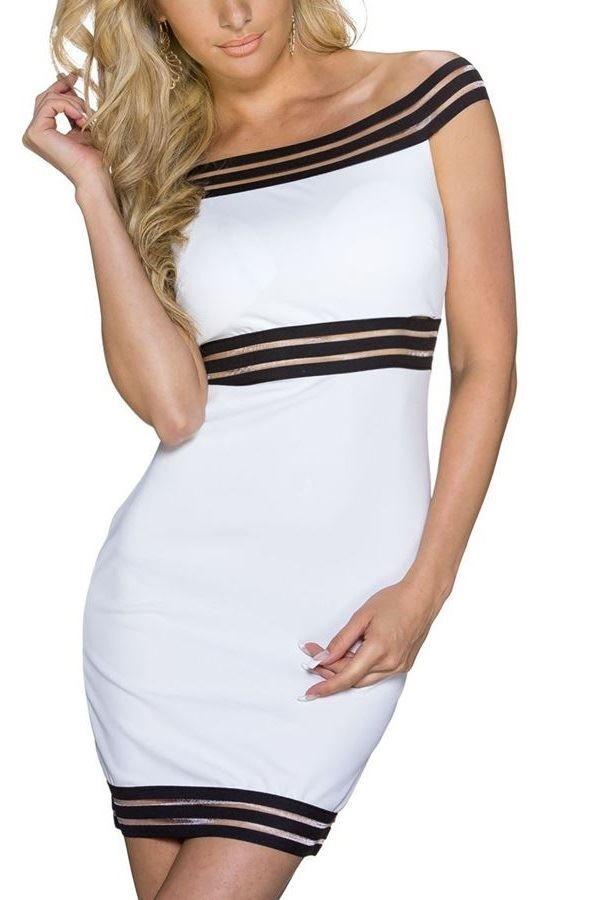SHORT DRESS STRIPES BLACK WHITE Q2022072