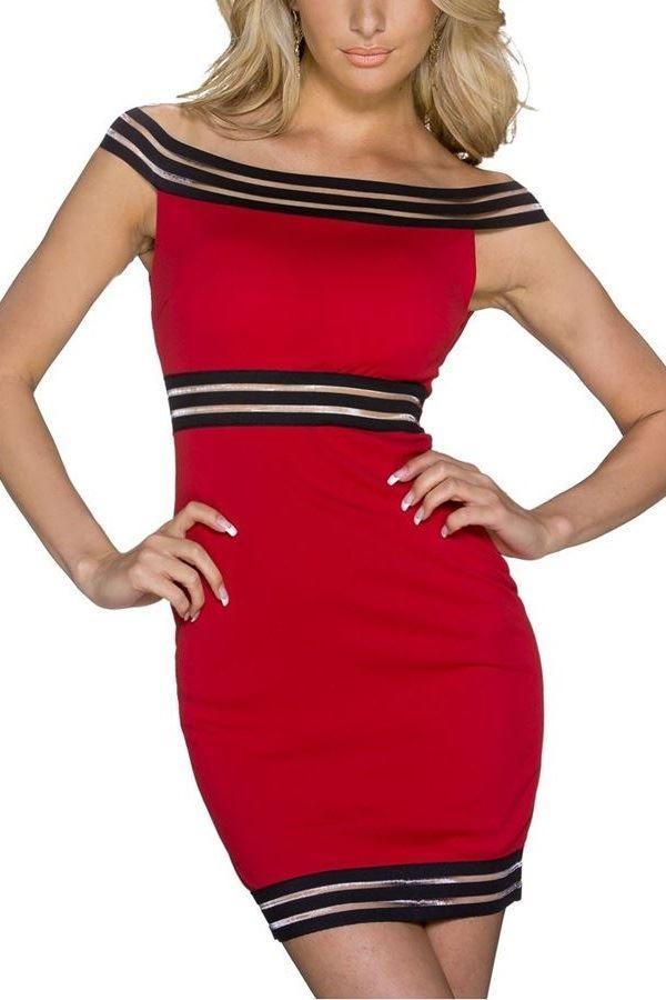 SHORT DRESS STRIPES BLACK RED Q2022072