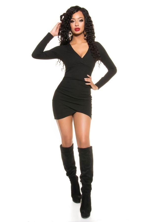 Φόρεμα Κοντό Ασύμμετρο Μαύρο ISDK189954