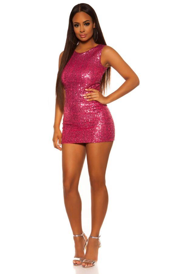 φόρεμα πάρτι κοντό παγιέτες φούξια.