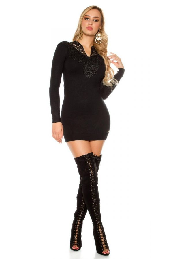 Dress Short Knitted Lace Black ISDF867362