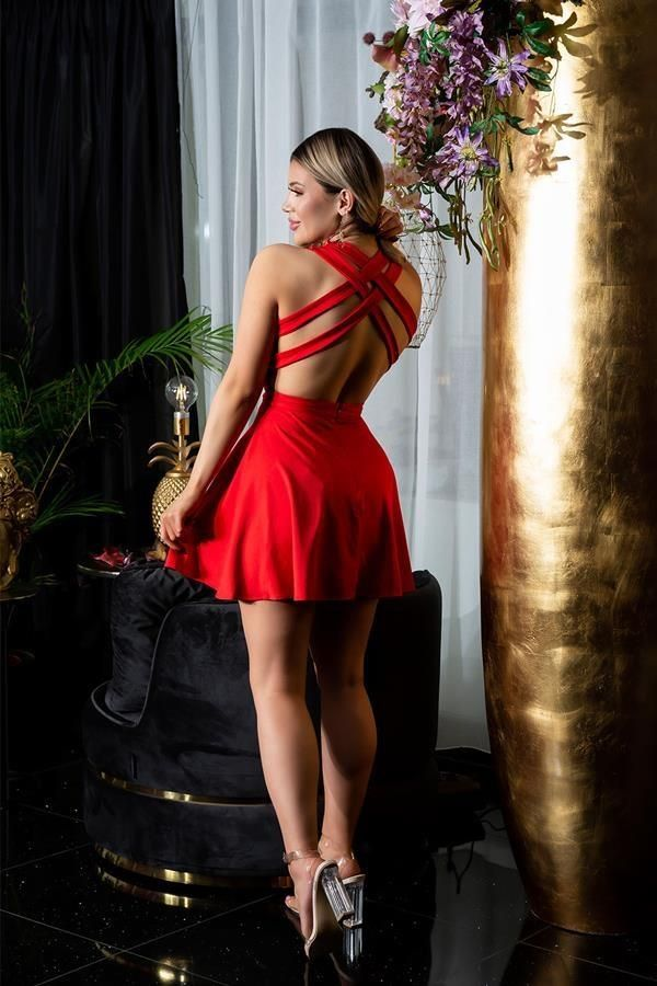 DRESS SHORT SEXY OPEN BACK RED ISDK19395