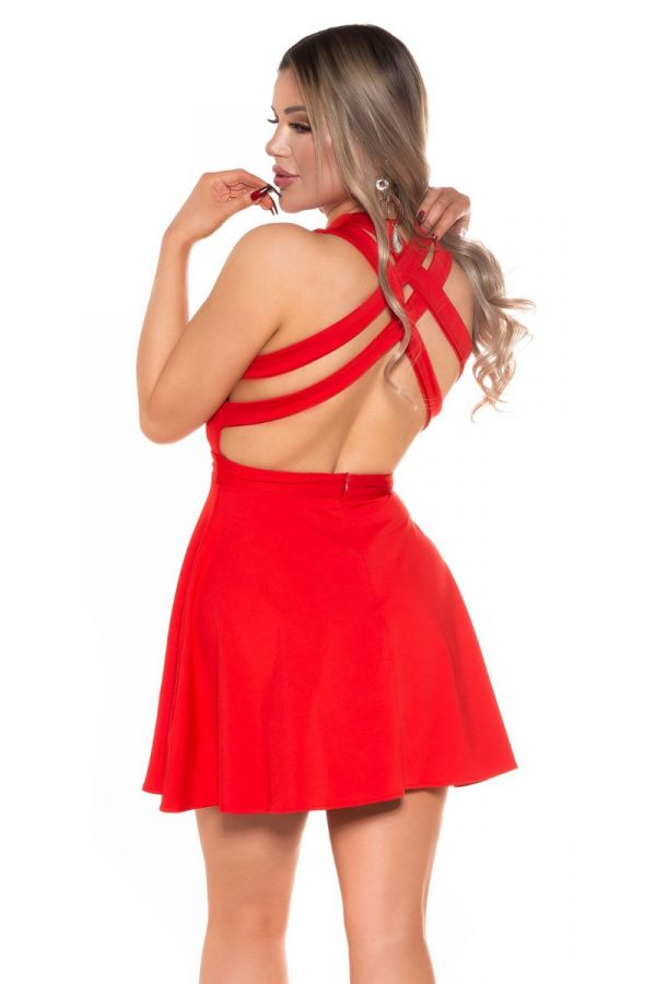 dress short sexy open back red.