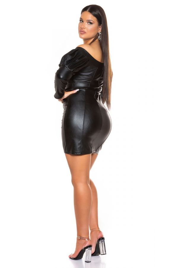 dress sexy leatherette black.