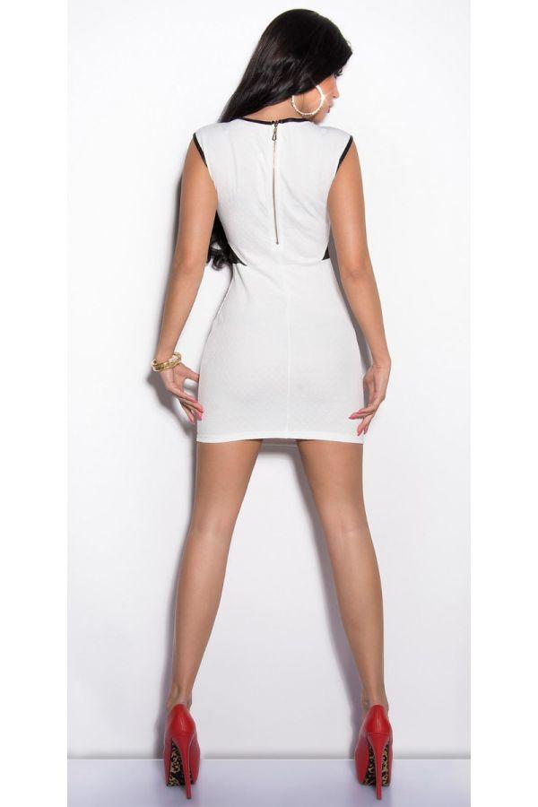 φόρεμα σέξυ κοντό εγκοπές άσπρο.