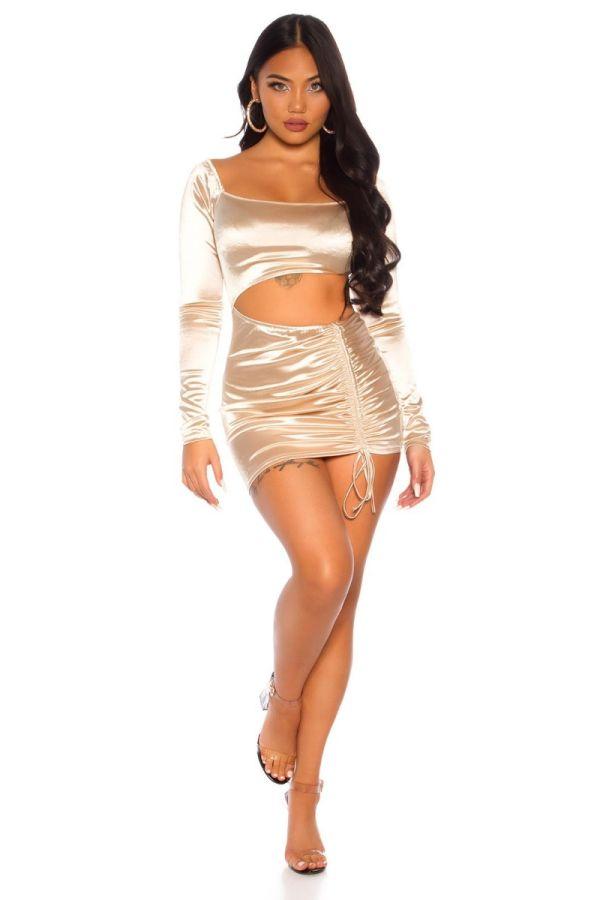 DRESS SHORT SEXY CUTOUTS CHAMPAGNE ISDK203347