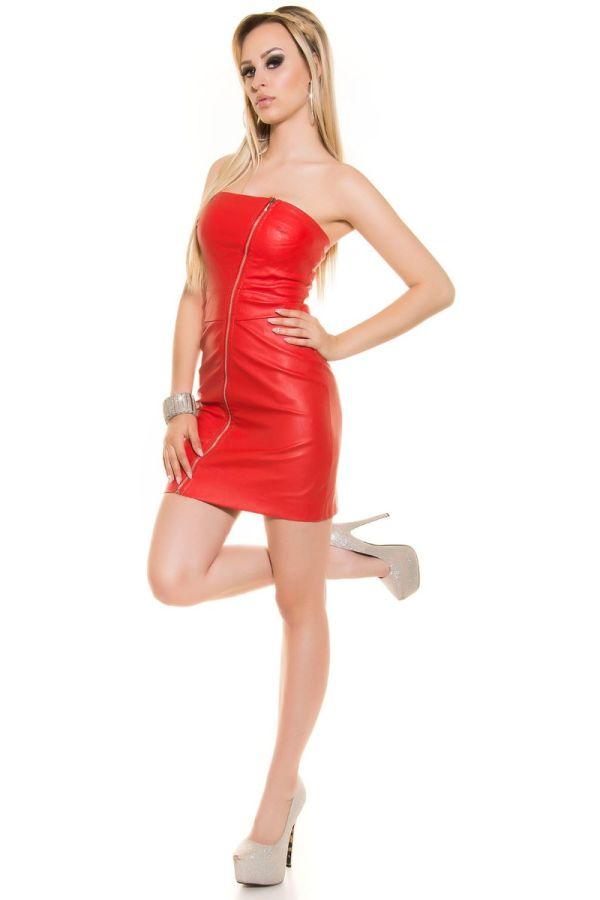 φόρεμα στράπλες φερμουάρ δερματίνη κόκκινο.