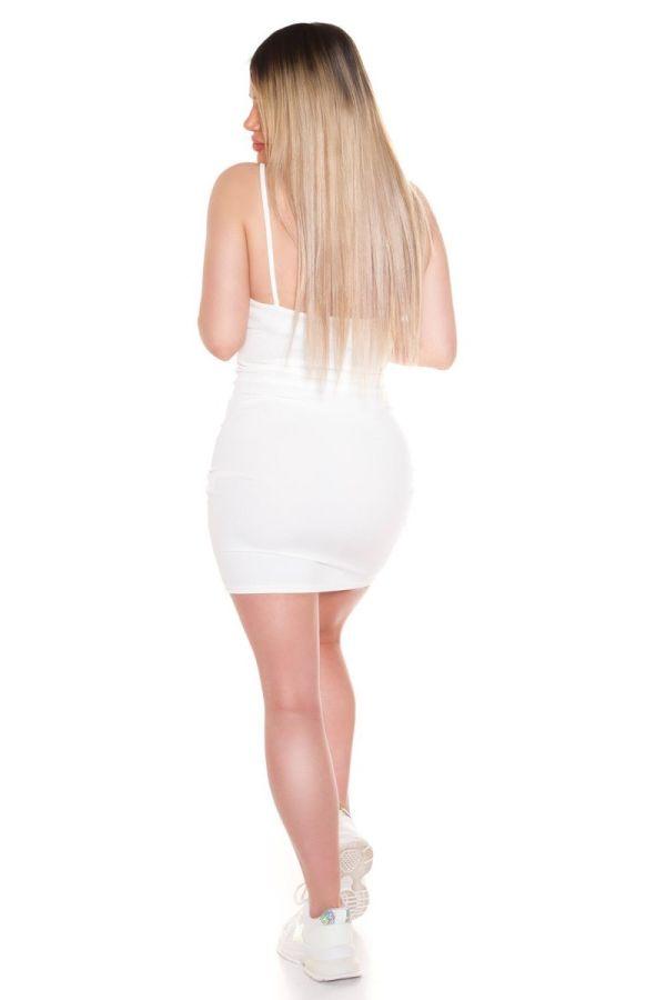 dress short straps sexy white.