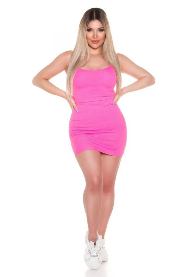 dress short straps sexy pink.