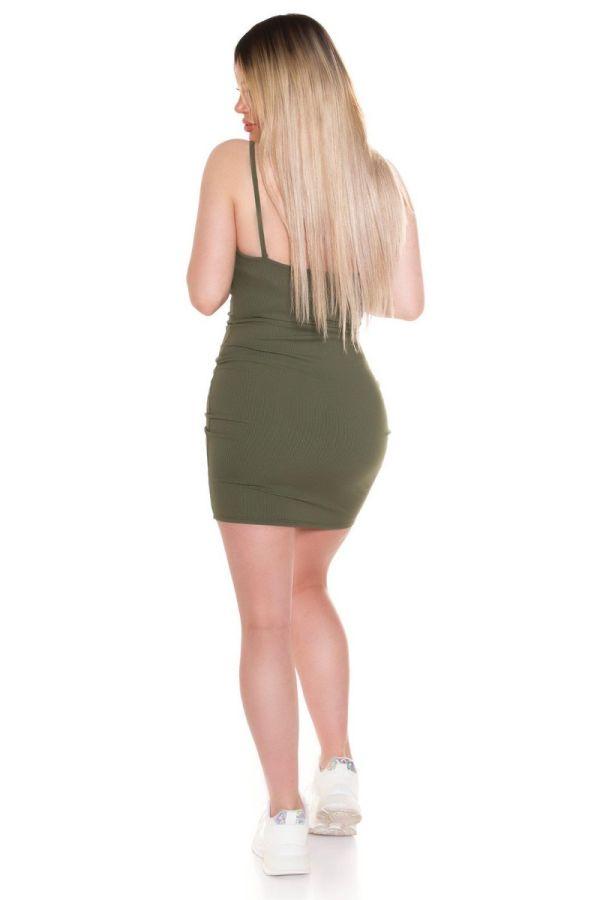 φόρεμα κοντό τιράντες σέξι χακί.