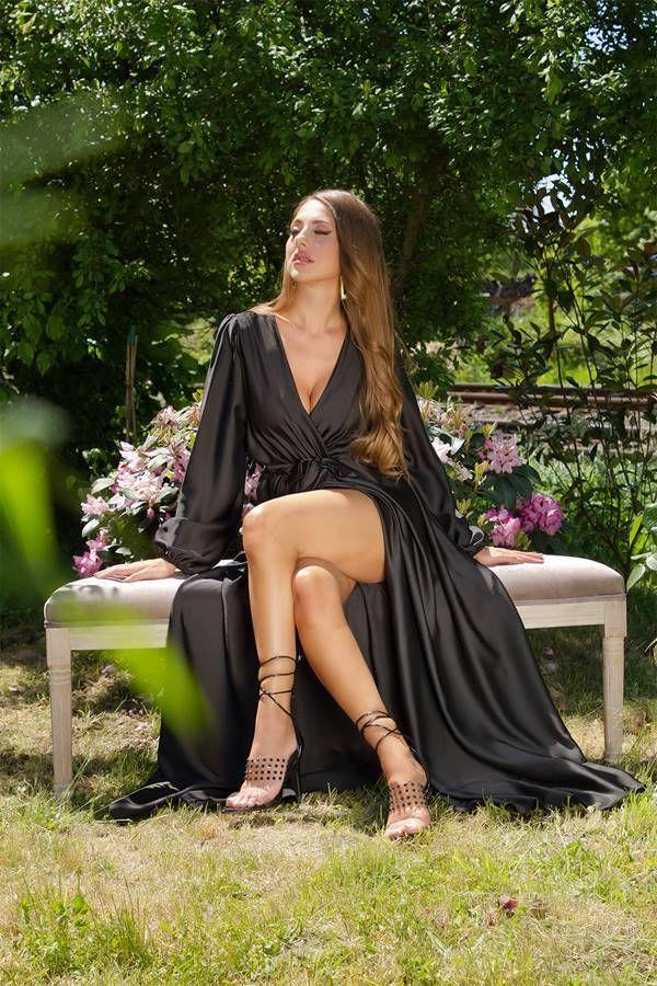 Dress Maxi Wrap Around Evening Satin Black ISDK661503
