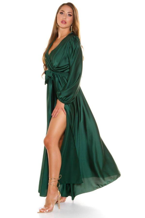 Dress Maxi Wrap Around Evening Satin Green ISDK661503