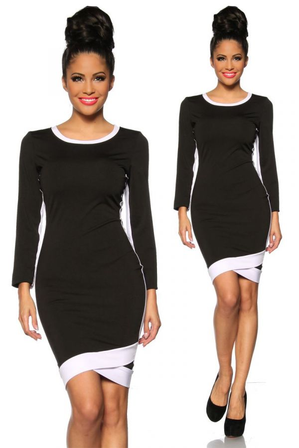DRESS LONG SLEEVES WHITE PANELS BLACK AT1413103