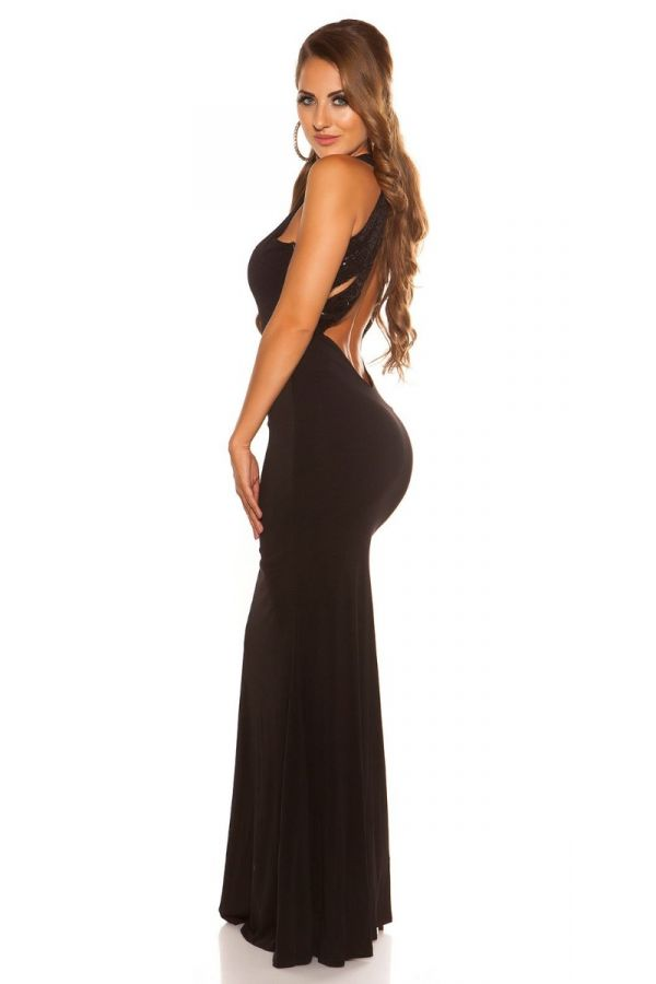 μάξι αμάνικο μαύρο φόρεμα σέξυ πλάτη διακοσμημένο παγιέτες.