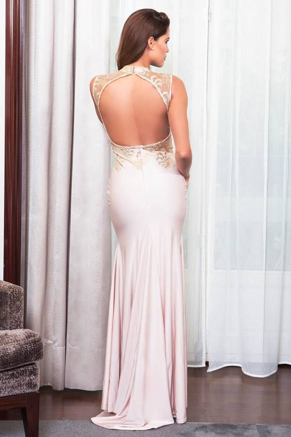 Φόρεμα Μακρύ Σέξι Διαφάνεια Διακόσμηση Apricot GTO1072I2