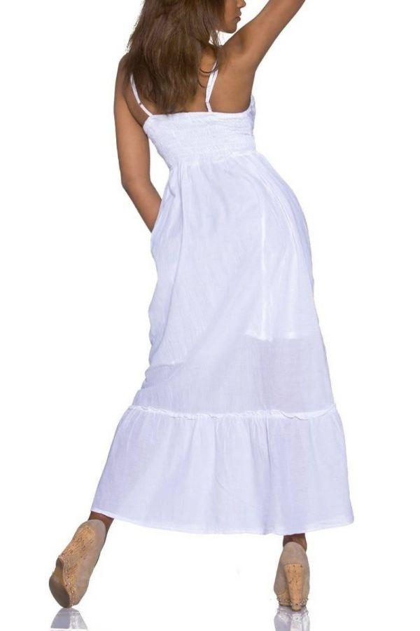 Φόρεμα Μακρύ Καθημερινό Αέρινο Άσπρο QQ1921572