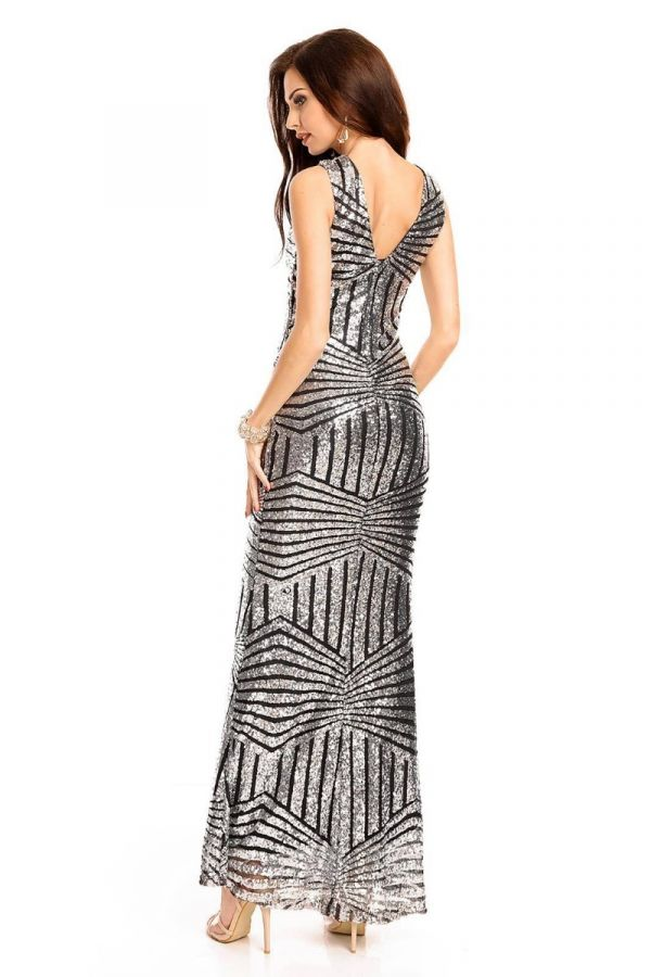 Φόρεμα Μάξι Βραδινό Παγιέτες Ασημί UHS72390